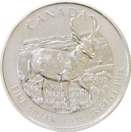2013 Silver Bullion 1oz Antelope from the Wildlife Series